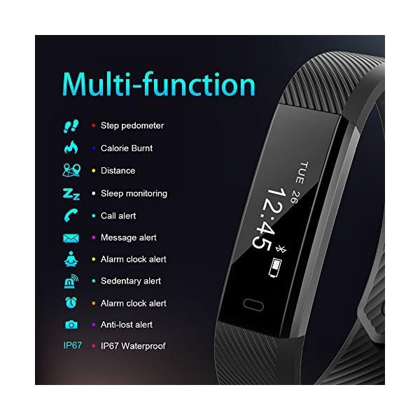 AIMIUVEI Pulsera Actividad Pulsera Inteligente Impermeable con 3 Correas Recambias, Reloj Inteligente Mujer y Hombre,Podómetro,Cronómetros,Despertador,Cámara Control,Compatible con iOS y Android 3