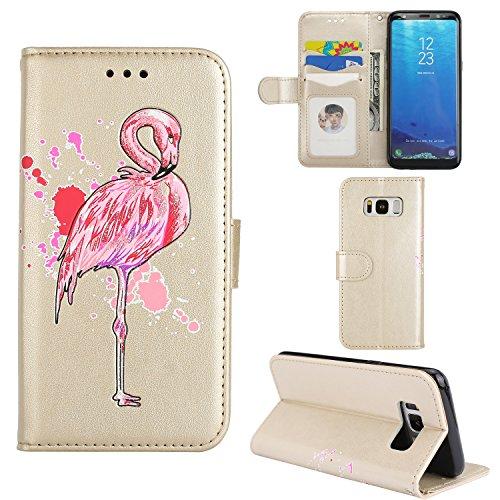 Samsung Galaxy S8 Plus Funda, Ecoway Serie Flamingo de la PU Leather Cubierta ,Función de Soporte Billetera con Tapa para Tarjetas Soporte para Teléfono - Oro
