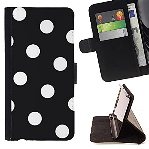 XP-Tech / Housse Etui en cuir pour Samsung Galaxy S7 edge (Curved screen,NOT FOR S7)/ S7 edge Duos / G930 - White Polka Dot Pattern Hipster Goth