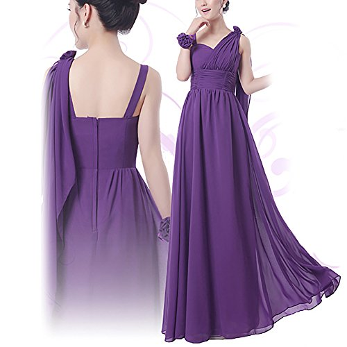 iShine Damen Elegant Abendkleider Cocktailkleider Chiffon Hochzeit Party Brautjungfer kleider Violett