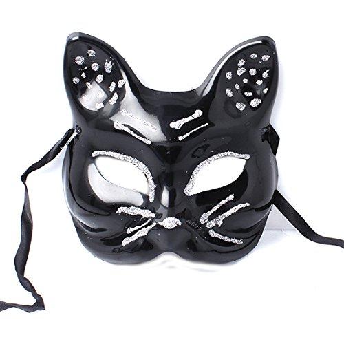 Katze Beängstigend Kostüm (Accessoryo - Damen schwarze Katze Gesichtsmaske mit Silber Glitter Detail und Band)