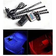 Xcellent Global 4x 30cm 18SMD LED RGB coches Interior Luz Tiras Luz Resistente Al Agua Leuchten Neon Decoración Lámpara sundgesteuerte mando a distancia + Cargador De Coche, at010
