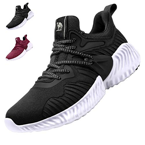 CAMEL CROWN Zapatillas de Deportivos de Running para Mujer Zapatos Gimnasia Ligero Fitness Casual Sneakers Outdoor Calzado Negro Rojo 37-42