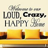 BFMBCH Benvenuti nei nostri adesivi murali forti, pazzi e felici soggiorno parola lettering camera da letto Nordic decorazione della casa adesivi murali A1 42x81cm