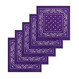KARL LOVEN Lot de 5 bandanas 100% Coton paisley foulard fichu 12 couleurs au choix (Lot de 5 identiques, Violet)