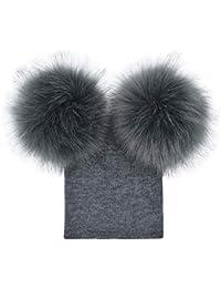 heekpek Cappello Neonato con PON PON 0-5 Anni Berretto A Maglia Bambino  Inverno Autunno in Cotton Caldo Antivento Morbido per… 5680de8fa4b6
