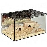 Geräumiges Kleintier-Terrarium, mit Glaswänden und Dach aus Drahtgeflecht mit Belüftung, ideal für kleine Tiere wie Hamster, die gerne wühlen.