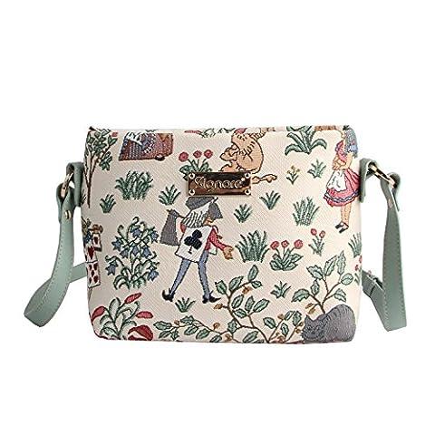 Modische Tapisserie Damen Schultertasche, Bodybag oder Messengertasche in Signare Blumen (Alice im
