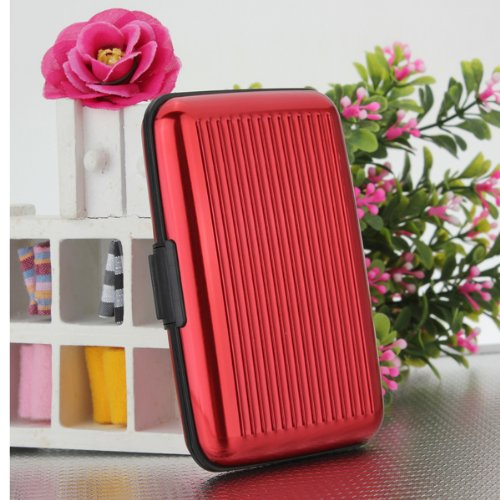 Alu wasserdichte Kreditkarten Visitenkarten Etui Case Tasche Box Hülle Kartenbox Aufbewahrungsbox Rot