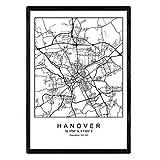 Nacnic Blade Hannover Stadtplan nordischen Stil schwarz und
