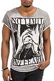 trueprodigy Casual Herren Marken T-Shirt mit Aufdruck, Oberteil cool und stylisch mit Rundhals Ausschnitt (Kurzarm & Slim Fit), Shirt für Männer Bedruckt Farbe: Grau 1073124-5203-M