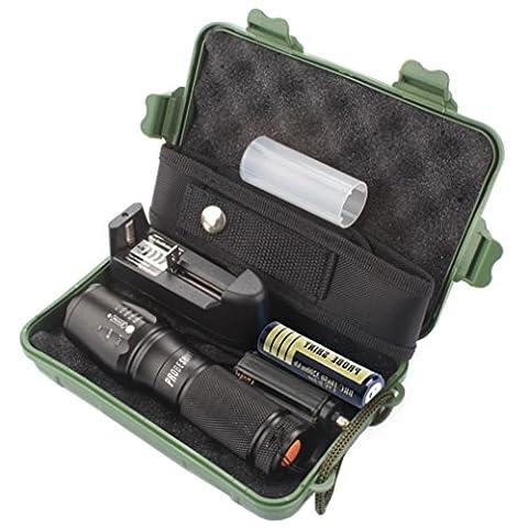 Lampe Torche Led 5000 Lumens Tactical LED CREE XM-L T6 Lampe de poche de police X800 Zoom Super Bright militaire de grade étanche titulaire Torche 5 Modes+batterie 18650(1pcs)+Chargeur Unique+Pochette en nylon+Étui de protection