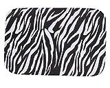 iHome Fußmatte, Korallen Samt, 40 x 60 cm, Zebra Muster (Schwarz Weiß)