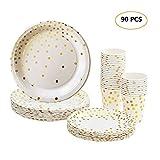 esonmus Lot Gobelets et Assiettes Jetables, 90 pièces Vaisselle Carton Jetable 30 Goblets en Papier + 30 Assiettes à Dessert + 30 Grandes Assiettes pour Anniversaire Fêtes avec Motif doré (90 pcs-1)