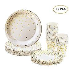 Idea Regalo - Kit Party Tavola 90pz, Bicchieri di Carta 60pz 270ml, Piatti di Carta 30pz 7