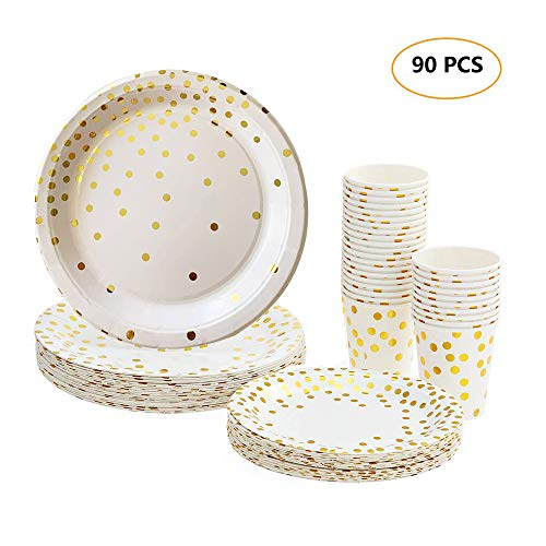 "esonmus Kit Party Tavola 90pz, 60pz 270ml Bicchieri di Carta, 30pz 7"" Piatti di Carta e 30pz 9"" Piatto Carta per Party Compleano Matrimonio Picnic Festa (90 pc - 1)"
