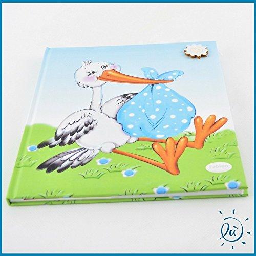 Albalù italia album nascita battesimo maschio con cicogna celeste e sole misura 23x27 cm