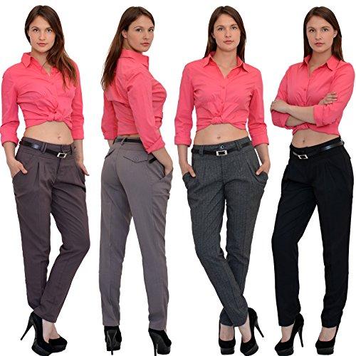 by-tex Damen Chinohose Damen Stoff Hose Chino Hosen in 5 Farben H42 Braun