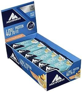 Multipower 40% Protein Fit - 24 x 35 g Eiweißriegel Box - Pfirsich Joghurt - Fitnessriegel mit 40 % hochwertigem Milchprotein - 14 g Eiweiß pro Proteinriegel