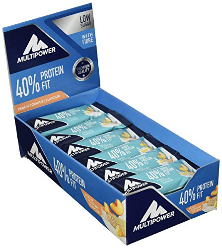 Multipower 40% Protein Fit - 24 x 35 g Eiweißriegel Box - Pfirsich Joghurt - Fitnessriegel mit 40 % hochwertigem Milchprotein - 14 g Eiweiß pro Proteinriegel -