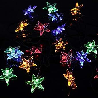 OxyLED Y20 Striscia Luce Solare, 20 LED, Disegno di Stella, 100LM, Luce Multicolori per Decorazione Natale, Addobbi Festa