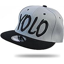 bb5f564924cf8 YOLO Baseball Cap Snapback HIP HOP Grau - Schwarz