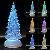 Albero di Natale illuminato a LED, in acrilico, 7 colori intercambiabili, con timer USB, 22 cm