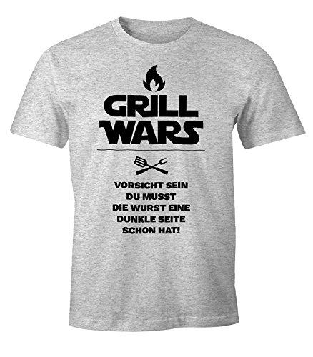 MoonWorks Herren T-Shirt Grill Wars mit Spruch Fun-Shirt grau-meliert - Grill Tshirt Wars