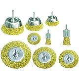 Proteco-Werkzeug® Set 9 tlg Drahtbürste Drahtbürsten mit Einspannschaft 6 mm für Bohrmaschine Topfbürste Rundbürste Pinselbürste, vermessingter Stahldraht