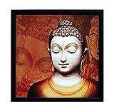 #8: eCraftIndia Meditating Buddha Design Satin Matt Texture Framed Synthetic Wood UV Art Painting (28 cm x 1.3 cm x 28 cm, Red)