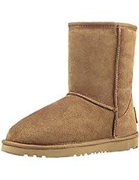 Shenduo Zapatos Invierno clásicos - Botas de Nieve de Piel con Lana Interno Antideslizantes para Mujer