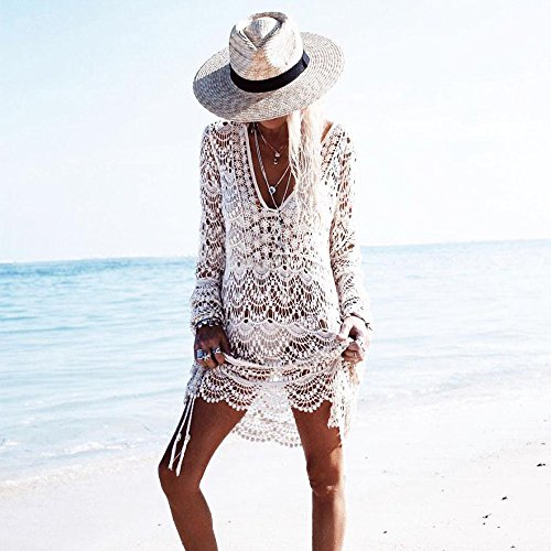 Culater® Femmes Dentelle Transparente creux Bikini Cover Up Maillots de bain Beach Robe Plage Protection Solaire Chemise Blanc