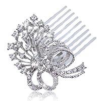 EVER FAITHŽ Austrian Crystal Wedding Bowknot Hair Comb Clear Silver-Tone N02453-1