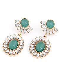 Cinderella Collection By Shining Diva Golden & Green Coloured Bead Hanging Earrings For Women 6926er