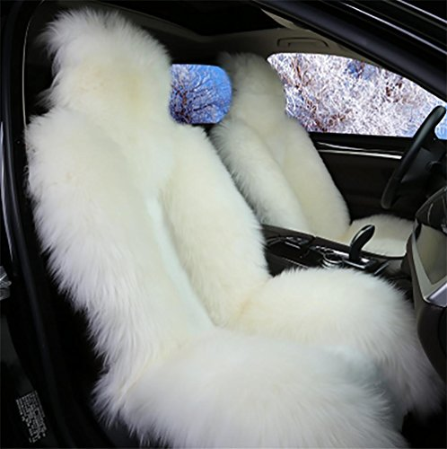 GAOFEI Luxus australische Schaffell Autositzkissen Abdeckung Auto Sitzbezug, White