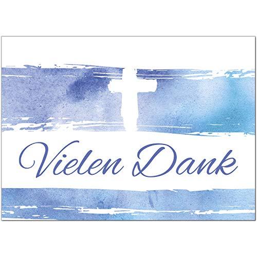 15 x Dankeskarten mit Umschlag - Aquarell wellen blau mit Kreuz - Danksagung/Bedanken/Danke sagen zur Taufe, Kommunion, Konfirmation, kirchlich