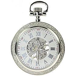 itemstoday Steampunk Silber Gravur Fall Weiß Zifferblatt Silber römischen Ziffern mechanische Taschenuhr aufziehbar