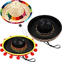 SATINIOR 3 Pieces Mini Sombrero Hats Pet Straw Hats Cute Straw Sombreros for Fiesta Carnival Summer Party Decorations Adults Teens Pets