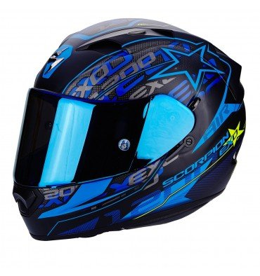 Scorpion - Casco de moto EXO-1200 AIR Solis, mate, negro/azul, talla L