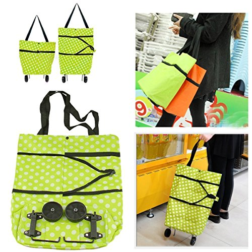 PERFECT SHOPO Lightweight Shopping Trolley Wheel Folding Travel Luggage Bag - ( Assorted Color ) (1 Pcs)  available at amazon for Rs.599