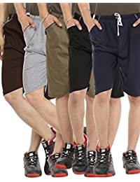 Gumber Casual Hosiery Solid Pack of 5 Multicoloured Solid Shorts For Men And Boys