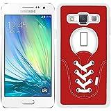 Funda carcasa para Samsung Galaxy A5 diseño zapatilla cordones color rojo borde blanco