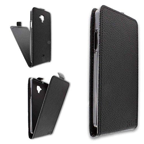 caseroxx Flip Cover & Bildschirmschutzfolie für Archos 50 Titanium 4G, Set (Flip Cover in schwarz)