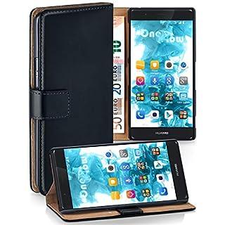 moex® Booklet mit Flip Funktion [360 Grad Voll-Schutz] für Huawei P9 Lite | Geldfach und Kartenfach + Stand-Funktion und Magnet-Verschluss, Schwarz