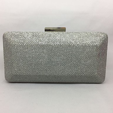 pwne Frauen Abend Tasche Metal All Seasons Event / Party Rechteckige Push Lock Fuchsia Silber Champagner Silver