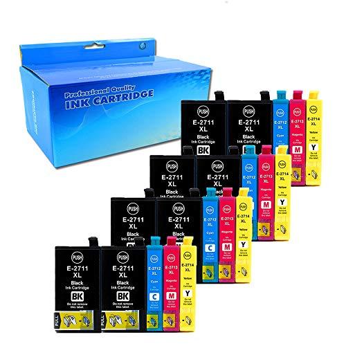 20x (8 Nero, 4 Ciano, 4 Magenta, 4Giallo) Cartucce d'inchiostro Epson 27XL 27 Compatibile per Epson WorkForce WF-7610 WF-7620 WF-3620 WF-3640 WF-7110 WF-7710 WF-7715 WF-7720 WF-7210