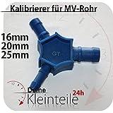 Multi calibrador de plástico, tubo multicapa, 16mm, 20mm, 25mm, PEX, PE-X, azul, Multi Kalibrierer