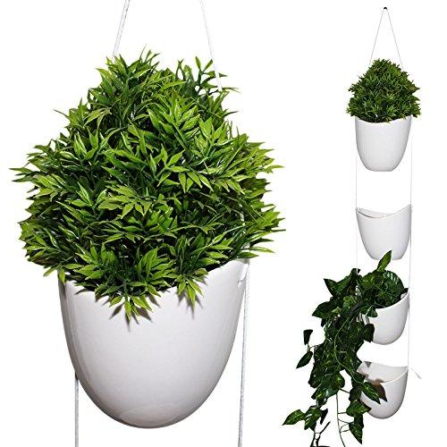 Kurtzy vaso per piante da appendere in ceramica - confezione 4 supporti piante grasse con corda bianca- vasi da fiori ceramica interni ed esterni, vaso fiori giardino ceramica bianca