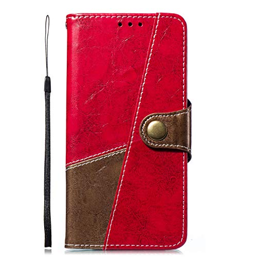 Uposao Kompatibel mit Handyhülle Huawei P20 Ledertasche Handytasche Leder Handyhülle Case Cover Ultradünn Book Lederhülle Wallet Klapphülle Flip Case Silikon Backcover Ständer,Braun Rot
