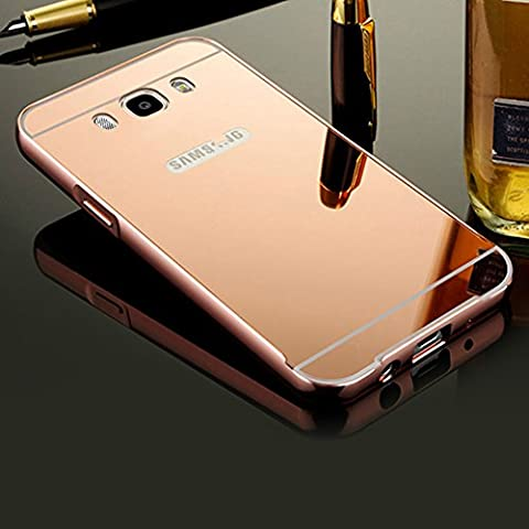 BtDuck Plated Mirror Case For Samsung Galaxy J5 2016 Rose Gold Suitable For Young And Lovely Ladies Reflector Outdoors For Help Self-timer Effect Metal Frame Phone Accessories Protector Cover Anti-slip Anti-scratch Skin Outdoor Protection Simple Strict Shockproof Slim-fit Lightweight Shell Hybrid Bumper with Inner shell Hard PC Plastic Back Cover + 1 * Black Stylus Pen